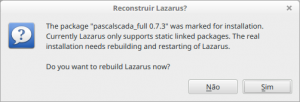 Confirmando a recompilação do Lazarus